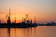 Закат. Одесский торговый порт